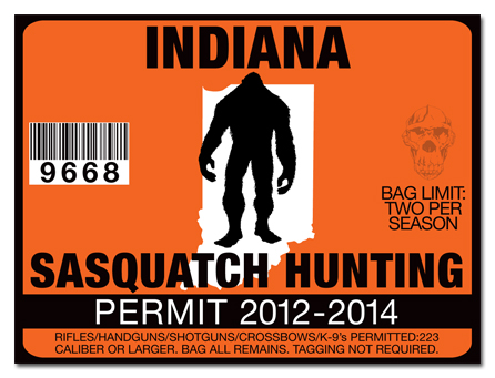Sasquatch hunting permit license choose from all u s for Indiana fishing license online