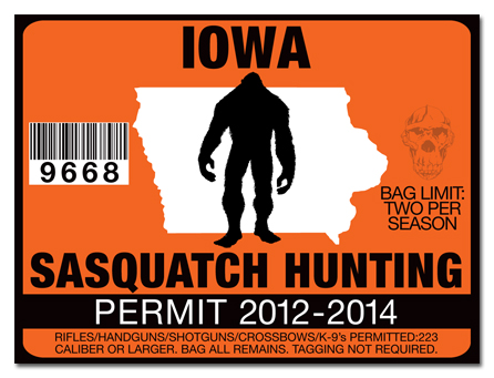 Sasquatch hunting permit license choose from all u s for Iowa fishing license