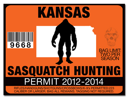 Sasquatch hunting permit license choose from all u s for Ks fishing license