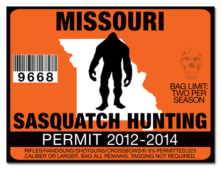 Sasquatch hunting permit license choose from all u s for Missouri non resident fishing license