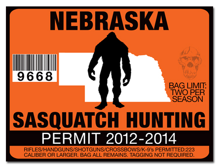 Sasquatch hunting permit license choose from all u s for Nebraska fishing license