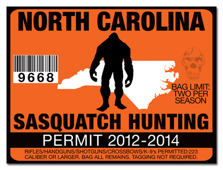 Sasquatch hunting permit license choose from all u s for Nc hunting and fishing license prices
