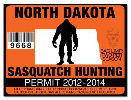Sasquatch hunting permit license choose from all u s for Fishing license nd
