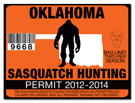Sasquatch hunting permit license choose from all u s for Oklahoma non resident fishing license