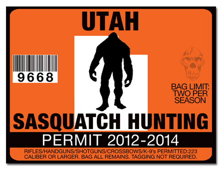 Sasquatch hunting permit license choose from all u s for Utah non resident fishing license