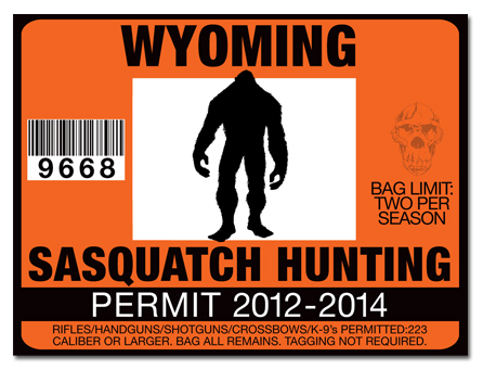 Sasquatch hunting permit license choose from all u s for Wyoming fishing license