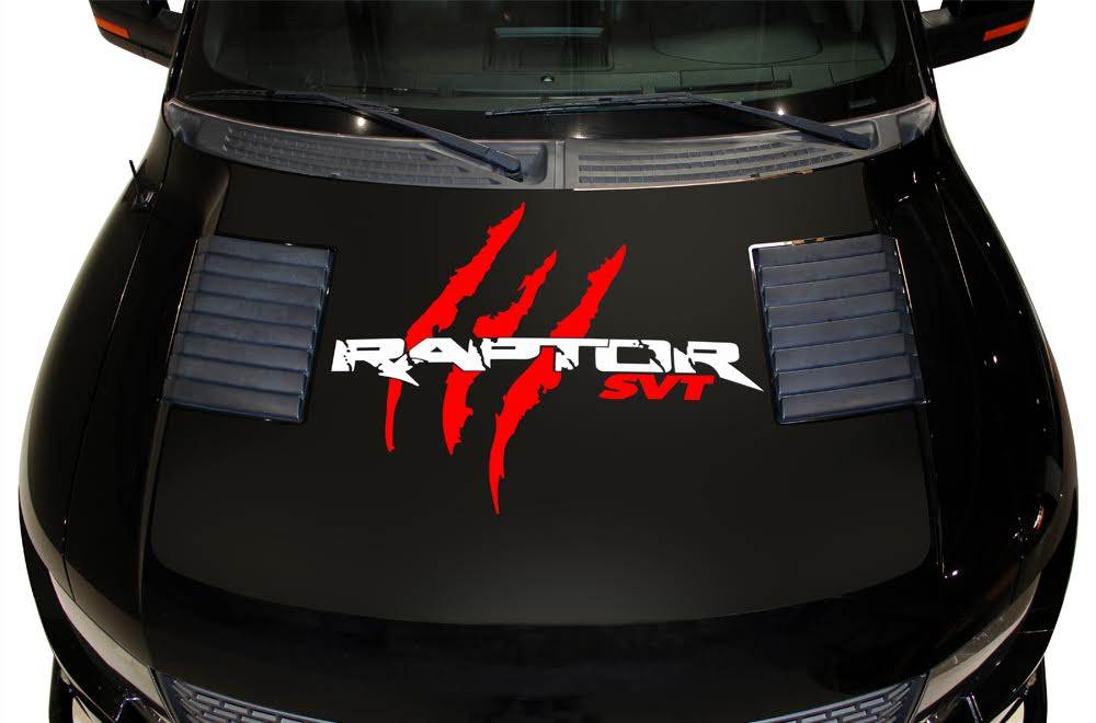 Large Hood Red Black on 2014 Ford Raptor Svt
