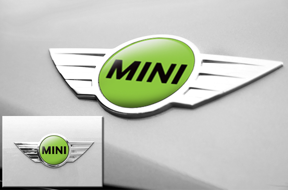 Mini cooper vinyl emblem graphics for front and back of vehicle