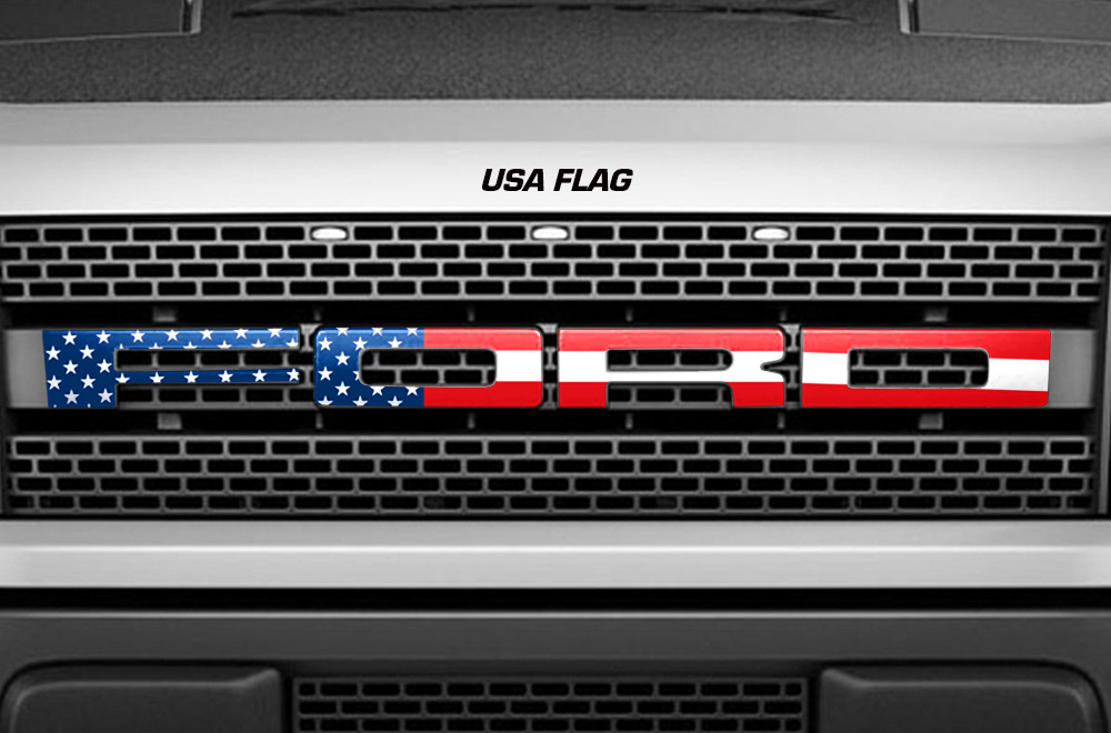 Large Ford Raptor Grill American Flag Zoomed