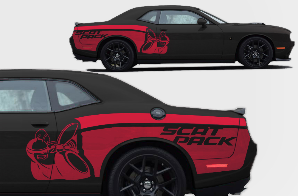 Challenger Scat Pack >> Vinyl Decal Rear Side Scat Pack Wrap Kit for Dodge ...