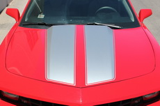 Chevrolet Camaro Hood/Trunk Stripes Vinyl Graphics Decal SILVER (2010-2013)