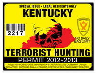 Terrorist hunting permit license choose from all u s for Kentucky non resident fishing license