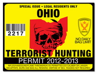 Terrorist hunting permit license choose from all u s for Ohio state fishing license