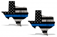 Blue Lives Matter Texas Subdued American Flag Car Window Sticker Police Decal 2x