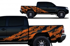 Toyota Tacoma 2005-2015 Short Bed Custom Half Side Decal Truck Wrap 4 Door - SHRED