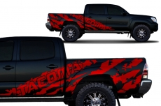 Toyota Tacoma 2005-2015 Short Bed Custom Half Side Decal Truck Wrap 4 Door - TACOMA SHRED