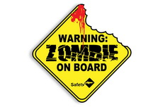 "4"" Zombies On Board Decal Sticker - Zombie Bite"
