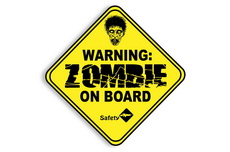 "4"" Zombies On Board Decal Sticker - Zombie Head"