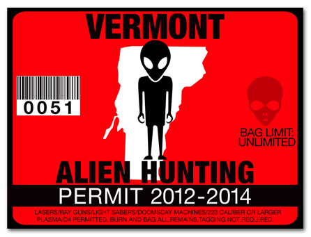 Alien hunting permit license choose from all u s states for Fishing license vt