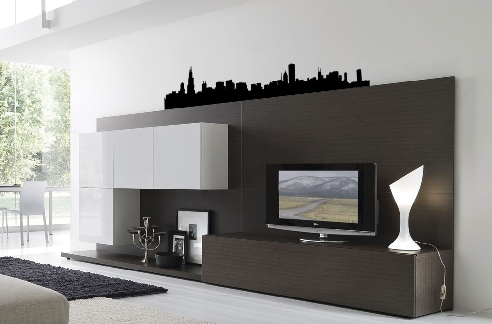 Chicago cityscapes vinyl bedroom wall art for Good look chicago skyline wall decal