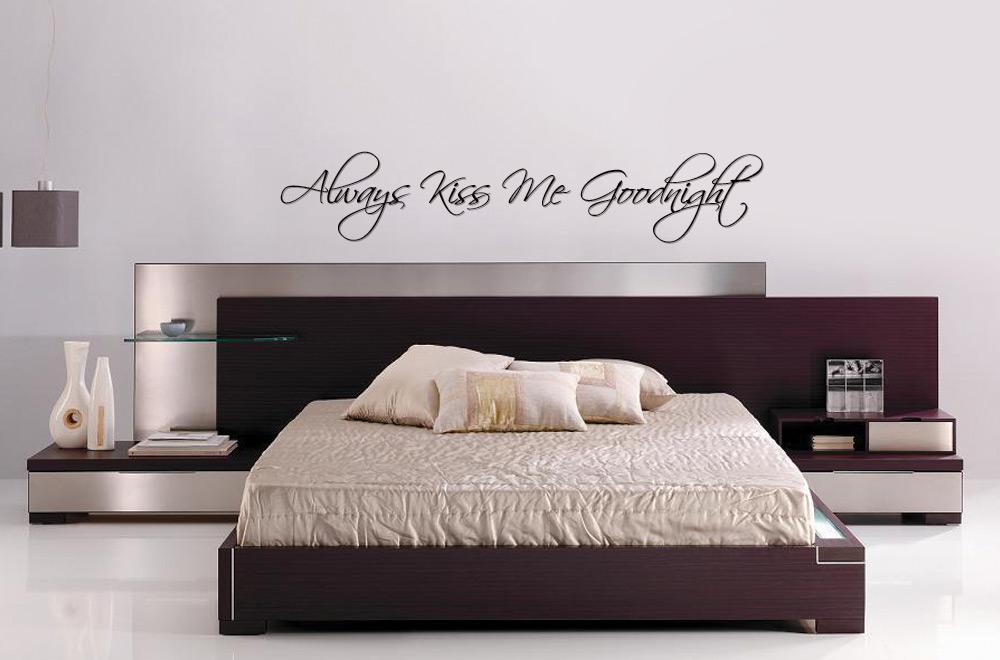 Bedroom Text Vinyl Bedroom Wall Art Quot Always Kiss Me