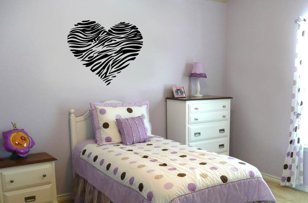 Animal Print Hearts Bedroom Text Vinyl Bedroom Wall Art