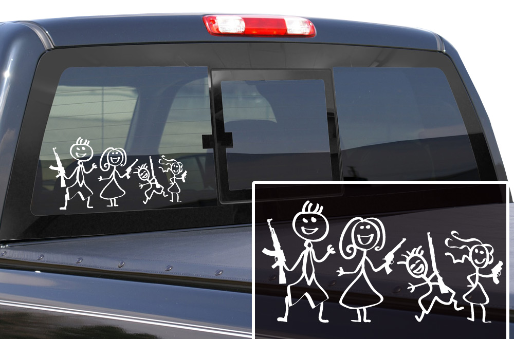 The gun family vinyl window decal