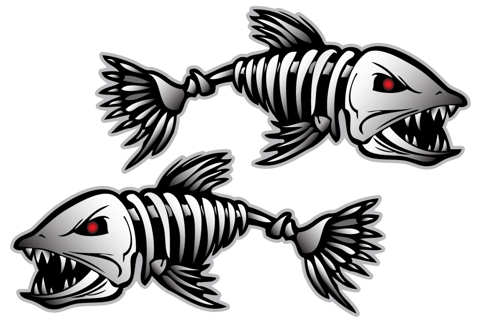 Bonefish sticker decal vinyl bones skeleton kayak fishing for Fish without bones