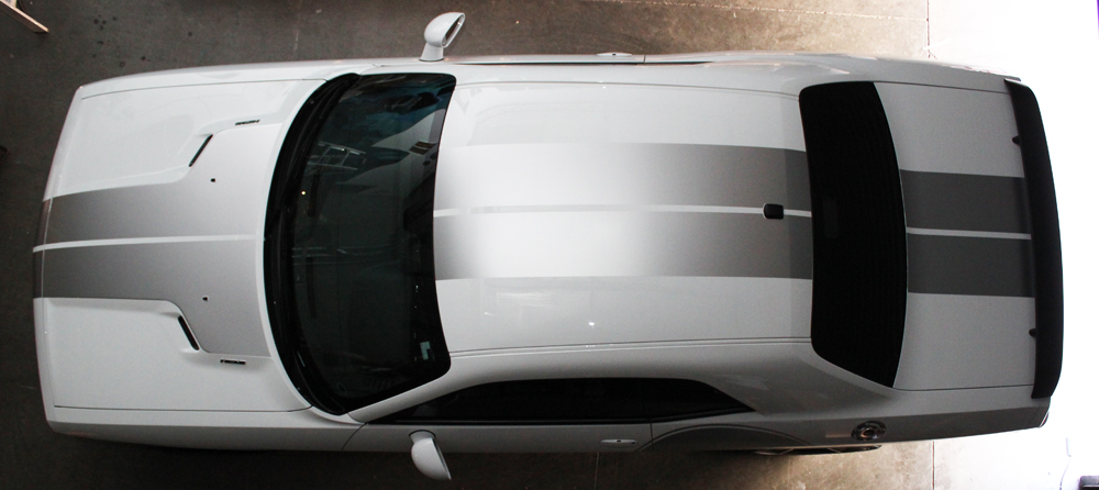 Dodge Challenger 08 14 Silver Vinyl Stripes Graphics For