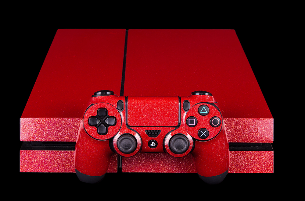Large Ps Console Controller Skin Metallic Red