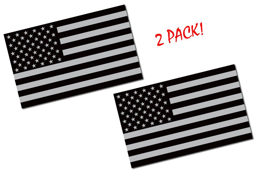 2 Pack 5x3 Black American Flag Decal Anti Flag