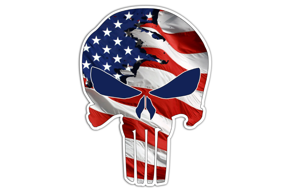 """American Flag/Subdued Punisher Skull 5"""" and 10"""" Decal"""