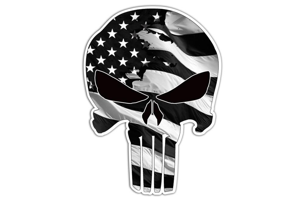 American Flag Punisher Skull Sticker Decal Vinyl Bones