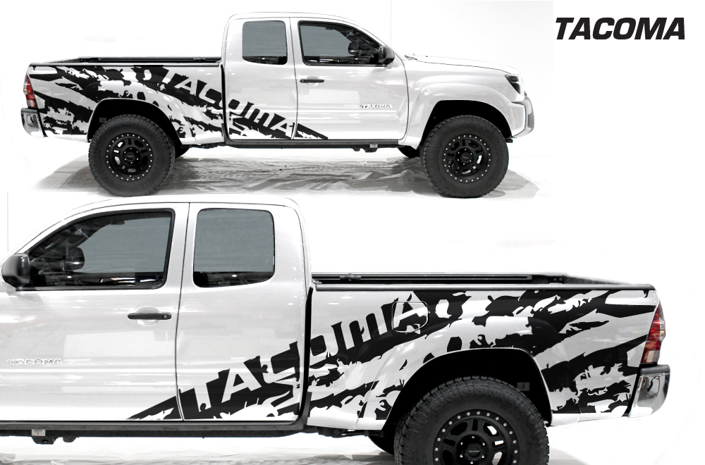 White Toyota Tacoma >> Toyota Tacoma 05-15 Vinyl Graphics for Bed Fender