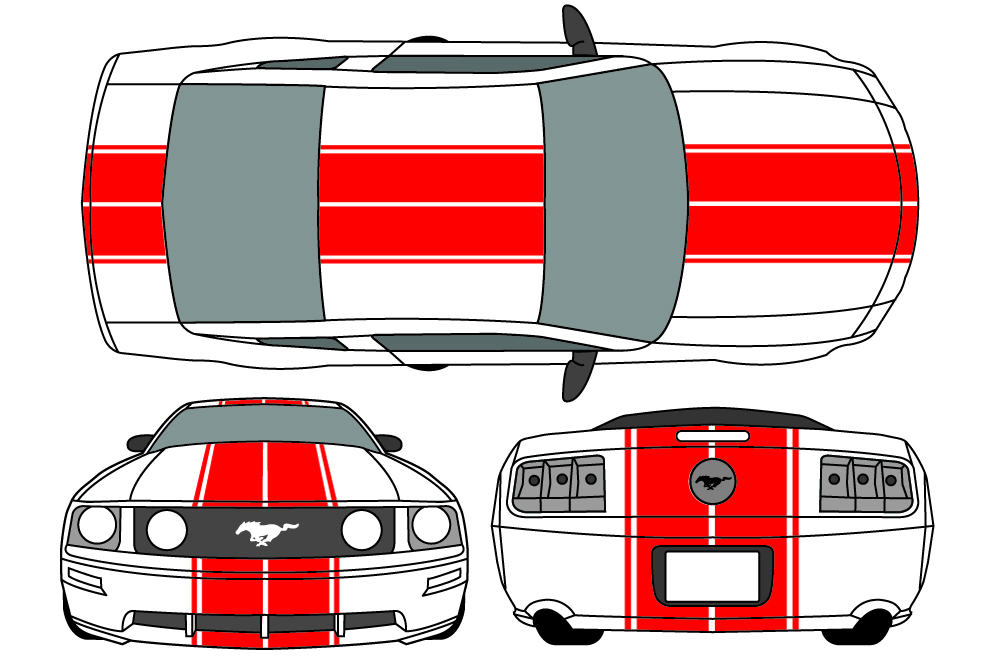 Mustang Ford Racing >> Ford Mustang Hood, Roof, and Trunk Stripes Vinyl Graphics Decal (2005-2009)