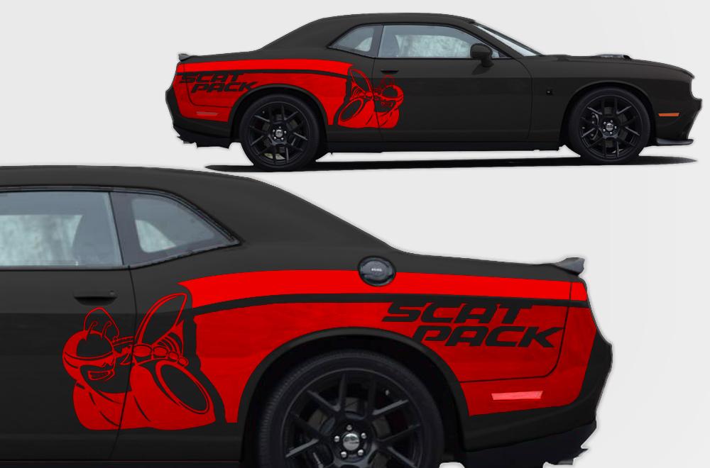Challenger Scat Pack >> Vinyl Decal Rear Side Scat Pack Wrap Kit for Dodge ...