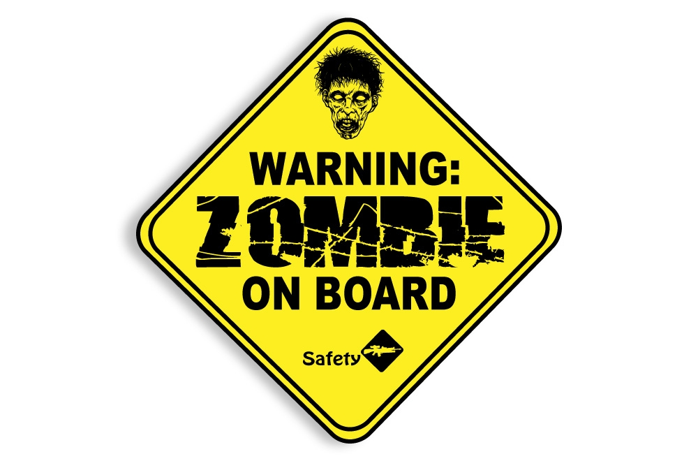 zombie on board baby on board funny warning decal window sticker permit 4 inch. Black Bedroom Furniture Sets. Home Design Ideas