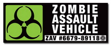 Zombie Assault Vehicle Decal 4x1.5""