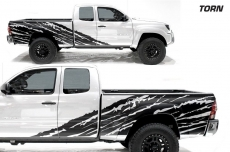 Toyota Tacoma 2005-2015 Custom Half Side Decal Truck Wrap 2 Door - TORN