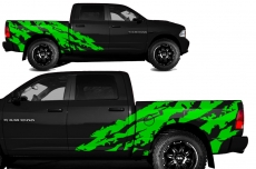Dodge Ram MIDBOX Short Box Truck 1500/2500 2009-2014 Custom Vinyl Decal - SHRED