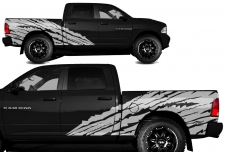 Dodge Ram Short Box Truck 1500/2500 2009-2014 Custom Vinyl Decal - TORN