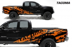 Toyota Tacoma 2005-2015 Custom Half Side Decal Truck Wrap 2 Door- TACOMA SHREDS