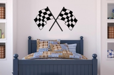 "38"" X 22"" Checkered Race Flags Vinyl Bedroom Wall Art"