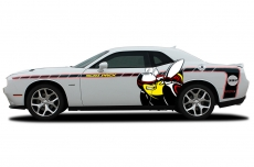 Printed Dodge Challenger Scat Pack Rumble Bee Side Stripe Graphics Decals 2015-2017