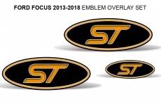 Ford Focus SE/SEL/ST/RS Colored Oval Emblem Overlay Decals (2015-2018)